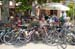 Bikes outside a cafe await their owners 		CREDITS:  		TITLE: 2013 Tour de France 		COPYRIGHT: � CanadianCyclist.com 2013