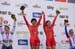 Women Team Sprint podium 		CREDITS:  		TITLE:  		COPYRIGHT: Guy Swarbrick
