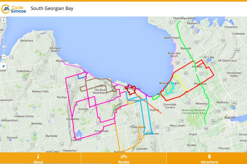 Oro Medonte Canada Map Canadian Cyclist Cycle Simcoe Launches Interactive Mobile Map