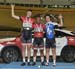 Podium: Nick Wammes, Je land Sydney, Gabriel Drapeau Zgoralski 		CREDITS:  		TITLE: 2016 Milton Challenge - Junior Men Keirin 		COPYRIGHT: Robert Jones-Canadian Cyclist