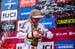 Overall World Cup winner Rachel Atherton struggles with the champers 		CREDITS:  		TITLE: UCI MTB World Cup, Valnord, Andorra.  		COPYRIGHT: Sven Martin 2016