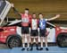 Junior Men Sprint podium: l to r - Wammes, Sydney, Guillemette 		CREDITS:  		TITLE: 2017 Track Nationals 		COPYRIGHT: Rob Jones/www.canadiancyclist.com 2017 -copyright -All rights retained - no use permitted without prior; written permission