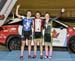 Podium: Junior Women Elimination Race - Laurie Jussaume, Maggie Coles-Lyster, Micaiah Besler 		CREDITS:  		TITLE: 2017 Track Nationals 		COPYRIGHT: Rob Jones/www.canadiancyclist.com 2017 -copyright -All rights retained - no use permitted without prior; wr
