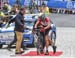 The bike change was difficult for most of the riders who chose to use it 		CREDITS:  		TITLE: 2017 Road World Championships, Bergen, Norway 		COPYRIGHT: Rob Jones/www.canadiancyclist.com 2017 -copyright -All rights retained - no use permitted without prio