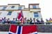 Fans who shared their perch with our photographer and fed him waffles 		CREDITS:  		TITLE: 2017 Road World Championships, Bergen, Norway 		COPYRIGHT: Rob Jones/www.canadiancyclist.com 2017 -copyright -All rights retained - no use permitted without prior;