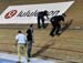 Racing was halted so the officials could repair the track 		CREDITS:  		TITLE: Track World Cup Milton 2018 		COPYRIGHT: Rob Jones/www.canadiancyclist.com 2018 -copyright -All rights retained - no use permitted without prior; written permission