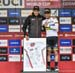 Julien Absalon was presented with gifts by Nino Schurter on behalf of the UCI 		CREDITS:  		TITLE: 2018 UCI World Cup Albstadt 		COPYRIGHT: Rob Jones/www.canadiancyclist.com 2018 -copyright -All rights retained - no use permitted without prior; written pe