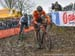 Mathieu van der Poel (Ned) and Michael Vanthourenhout (Bel) navigate the ruts 		CREDITS:  		TITLE: 2018 Cyclo-cross World Championships, Valkenburg NED 		COPYRIGHT: Rob Jones/www.canadiancyclist.com 2018 -copyright -All rights retained - no use permitted