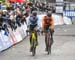 Toon Aerts (Bel) had caught Mathieu van der Poel (Ned) late in teh race 		CREDITS:  		TITLE: 2018 Cyclo-cross World Championships, Valkenburg NED 		COPYRIGHT: Rob Jones/www.canadiancyclist.com 2018 -copyright -All rights retained - no use permitted withou