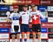Final World Cup overall: l to r: Joshua Dubau, Petter Fagerhaug, Filippo Colombo 		CREDITS:  		TITLE: 2018 La Bresse MTB World Cup 		COPYRIGHT: Rob Jones/www.canadiancyclist.com 2018 -copyright -All rights retained - no use permitted without prior; writte