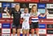 World Cup overall: l to r - Malene Degn, Sina Frei, Evie Richards 		CREDITS:  		TITLE: 2018 La Bresse MTB World Cup 		COPYRIGHT: Rob Jones/www.canadiancyclist.com 2018 -copyright -All rights retained - no use permitted without prior; written permission