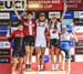 Final Overall World Cup: l to r - Alessandra Keller, Annika Langvad , Jolanda Neff, Emily Batty, Anne Tauber 		CREDITS:  		TITLE: 2018 La Bresse MTB World Cup 		COPYRIGHT: Rob Jones/www.canadiancyclist.com 2018 -copyright -All rights retained - no use per