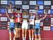 Womens podum:  l to r - Yana Belomoina, Annika Langvad, Jolanda Neff, Emily Batty, Anne Tauber 		CREDITS:  		TITLE: 2018 MSA MTB World Cup 		COPYRIGHT: Rob Jones/www.canadiancyclist.com 2018 -copyright -All rights retained - no use permitted without prior