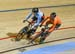Walsh and Braspennincx came close to tangling in the 1/16 final 		CREDITS:  		TITLE: 2018 Track World Championships, Apeldoorn NED 		COPYRIGHT: Rob Jones/www.canadiancyclist.com 2018 -copyright -All rights retained - no use permitted without prior; writte