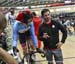 Zach Bell talks with Derek Gee before the start of the Points Race 		CREDITS:  		TITLE: 2019 Track World Championships, Poland 		COPYRIGHT: Rob Jones/www.canadiancyclist.com 2019 -copyright -All rights retained - no use permitted without prior, written pe
