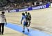 Jessica Lee limps to the finish line after blowing a tire and crashing 		CREDITS:  		TITLE: 2019 Track World Championships, Poland 		COPYRIGHT: Rob Jones/www.canadiancyclist.com 2019 -copyright -All rights retained - no use permitted without prior, writte